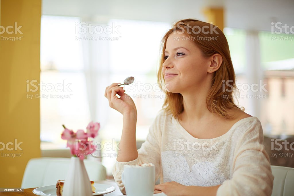 Enjoying dessert stock photo