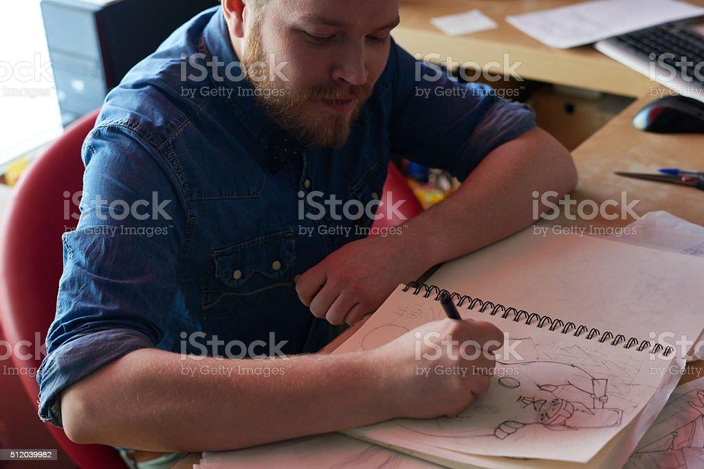 Enjoying drawing stock photo