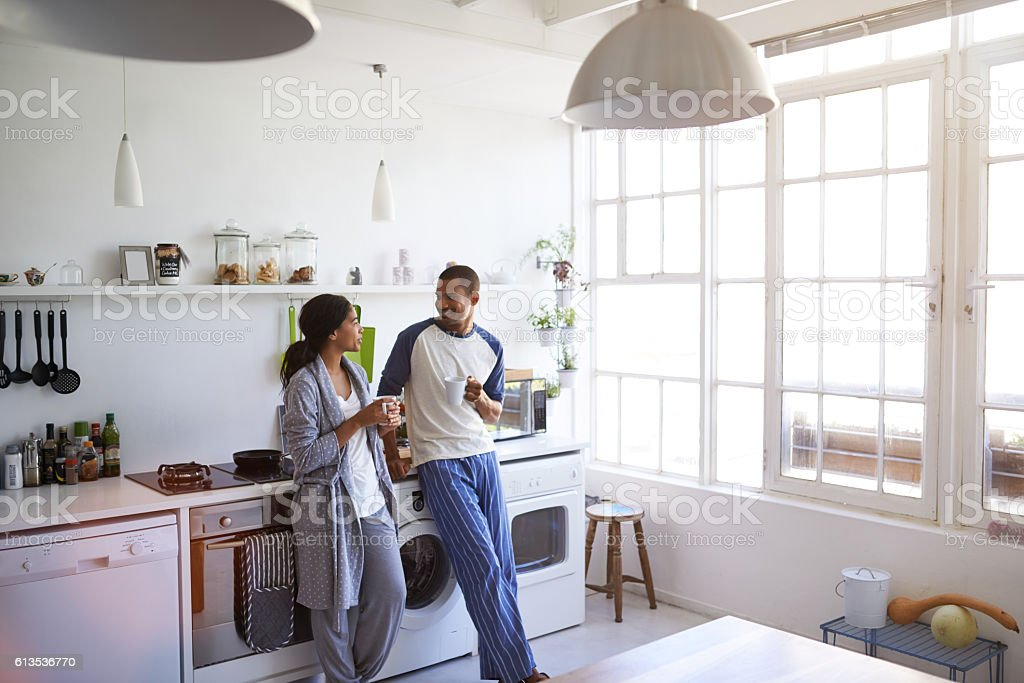 Enjoying each other's company in the morning stock photo