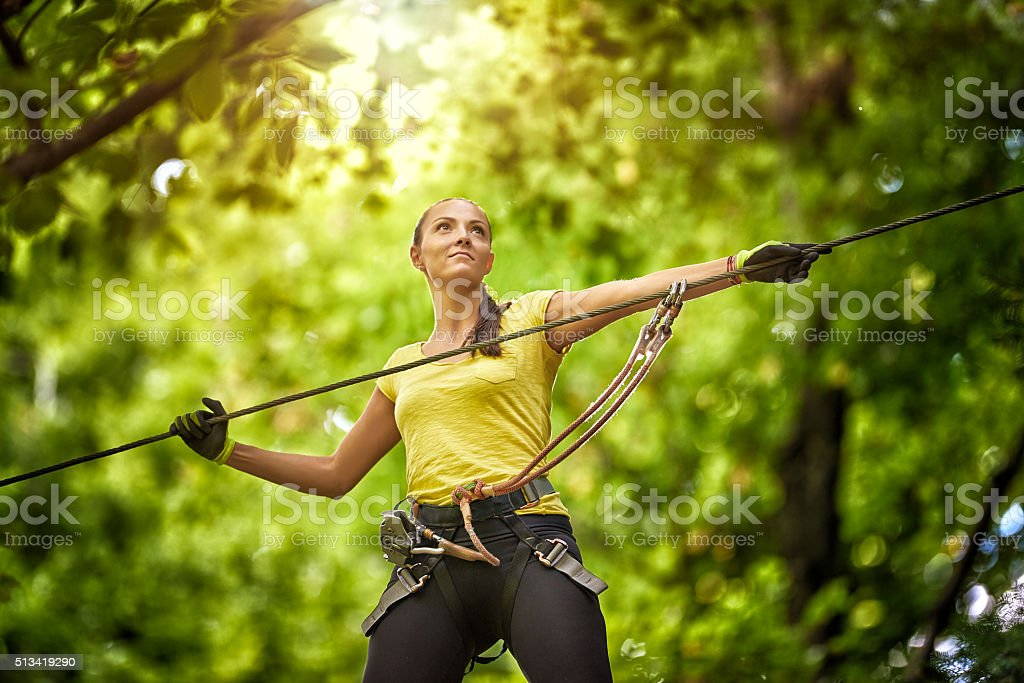 enjoying energic summer day stock photo