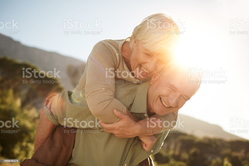 Enjoying every minute of their retirement stock photo