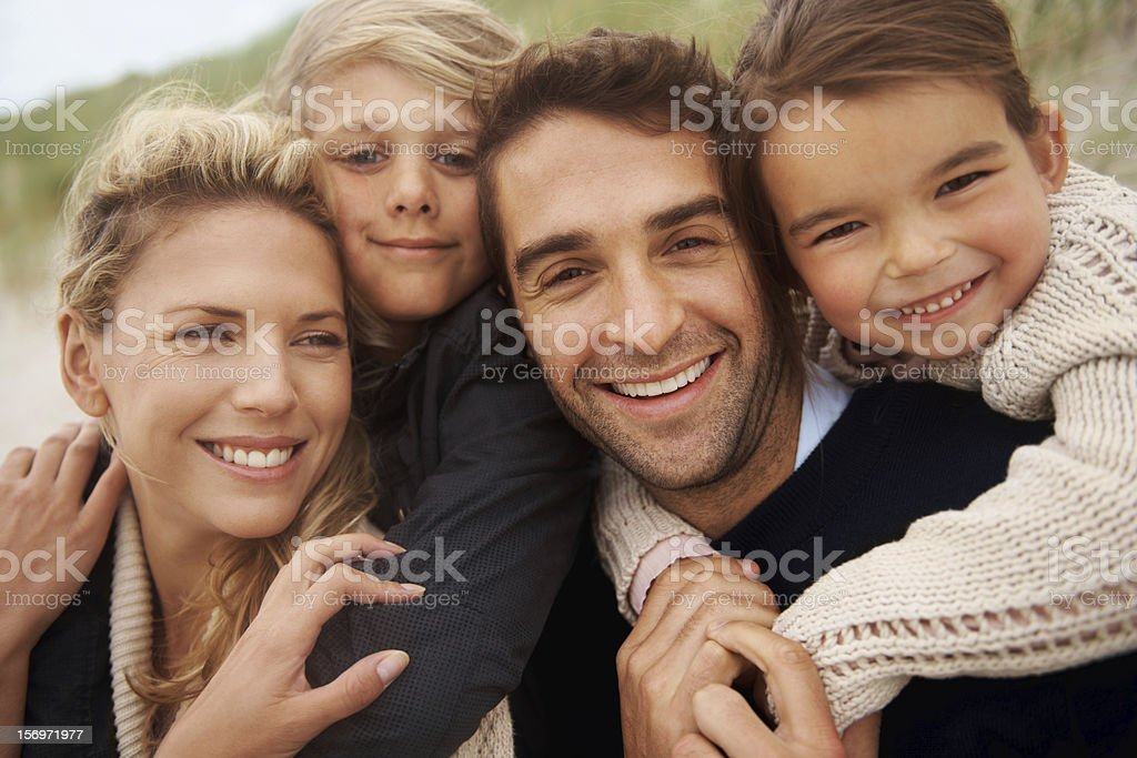 Enjoying family time at the beach royalty-free stock photo