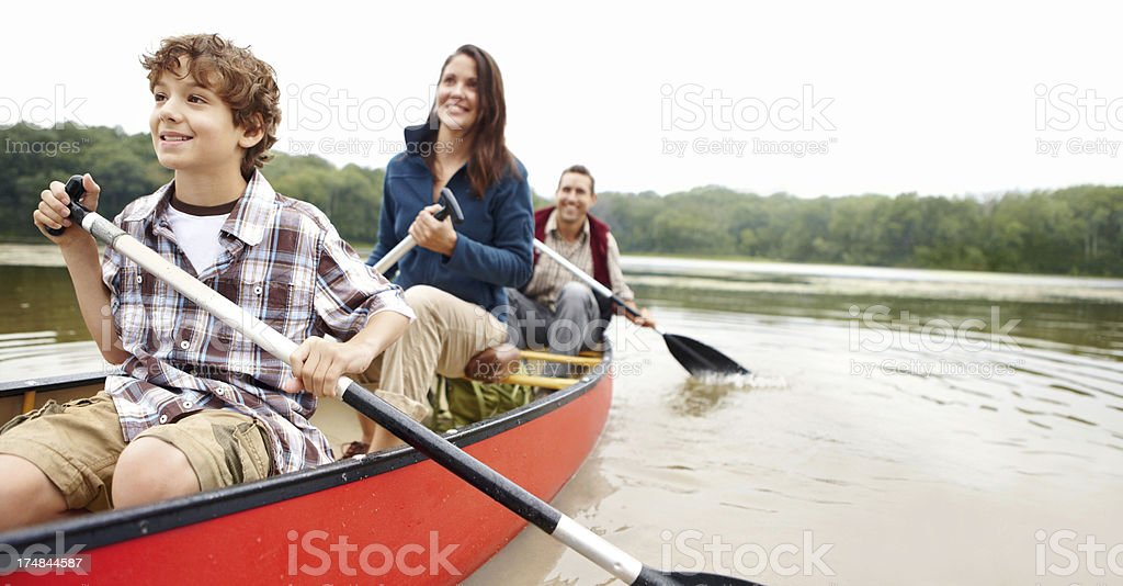 Enjoying family time on the lake stock photo