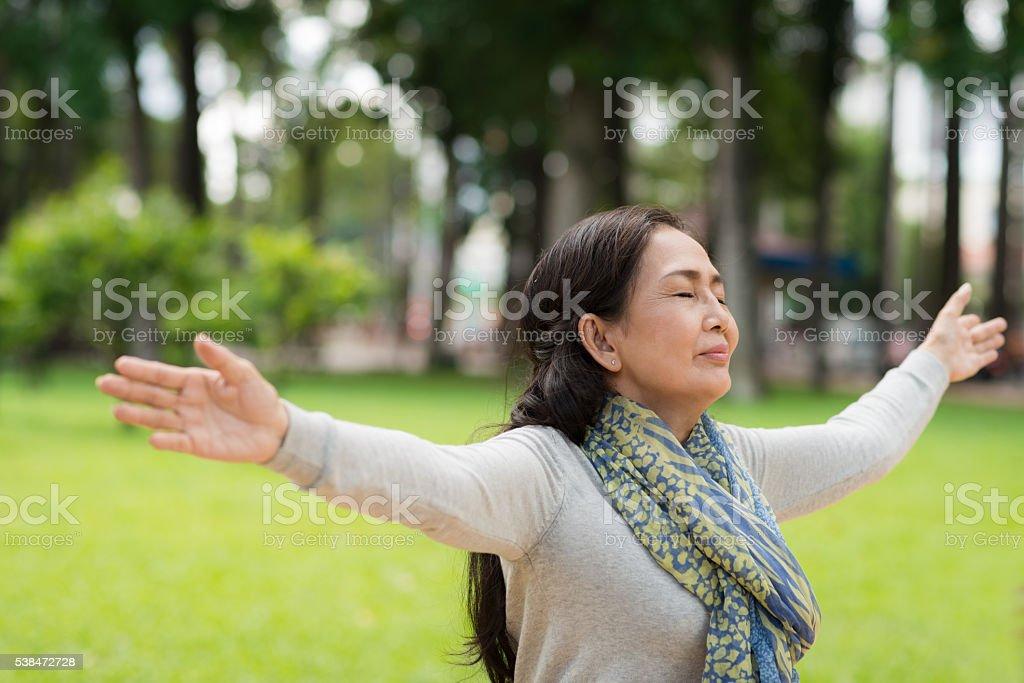 Enjoying fresh air stock photo
