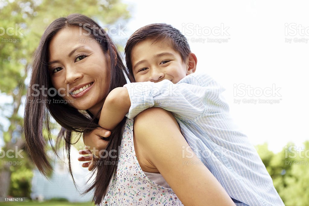 Enjoying fun time with mom royalty-free stock photo