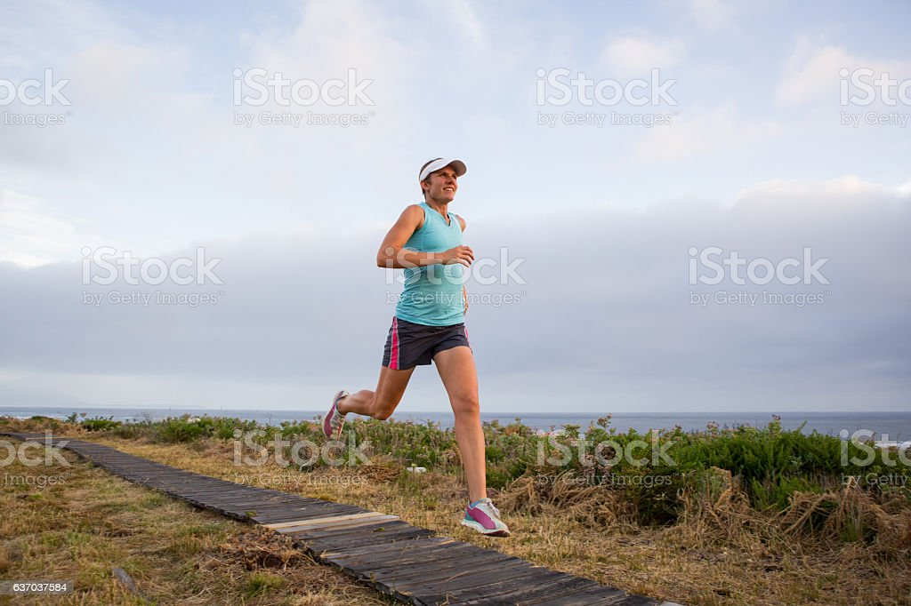 Enjoying getting out and running stock photo