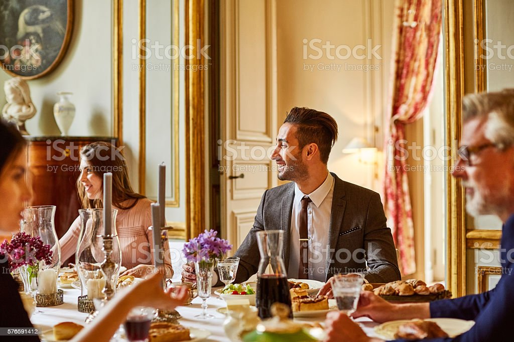 Enjoying good food and conversation stock photo