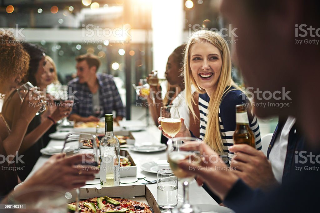 Enjoying good food and great company stock photo