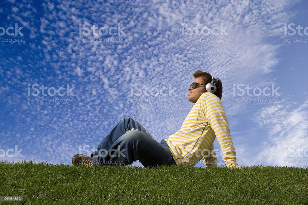 enjoying good music stock photo