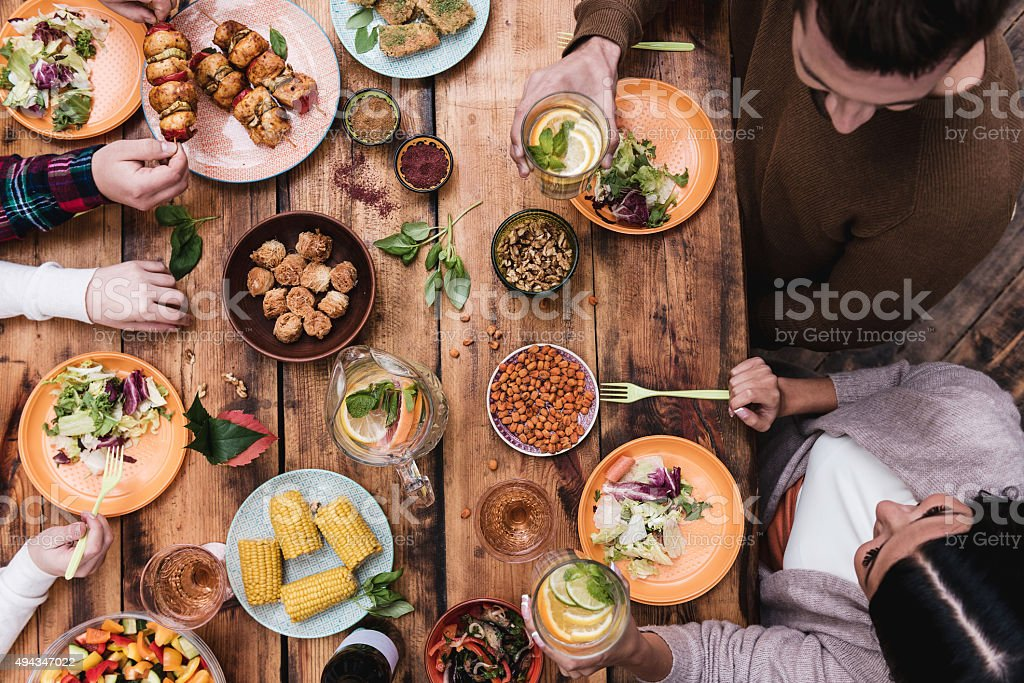 Enjoying great dinner. stock photo