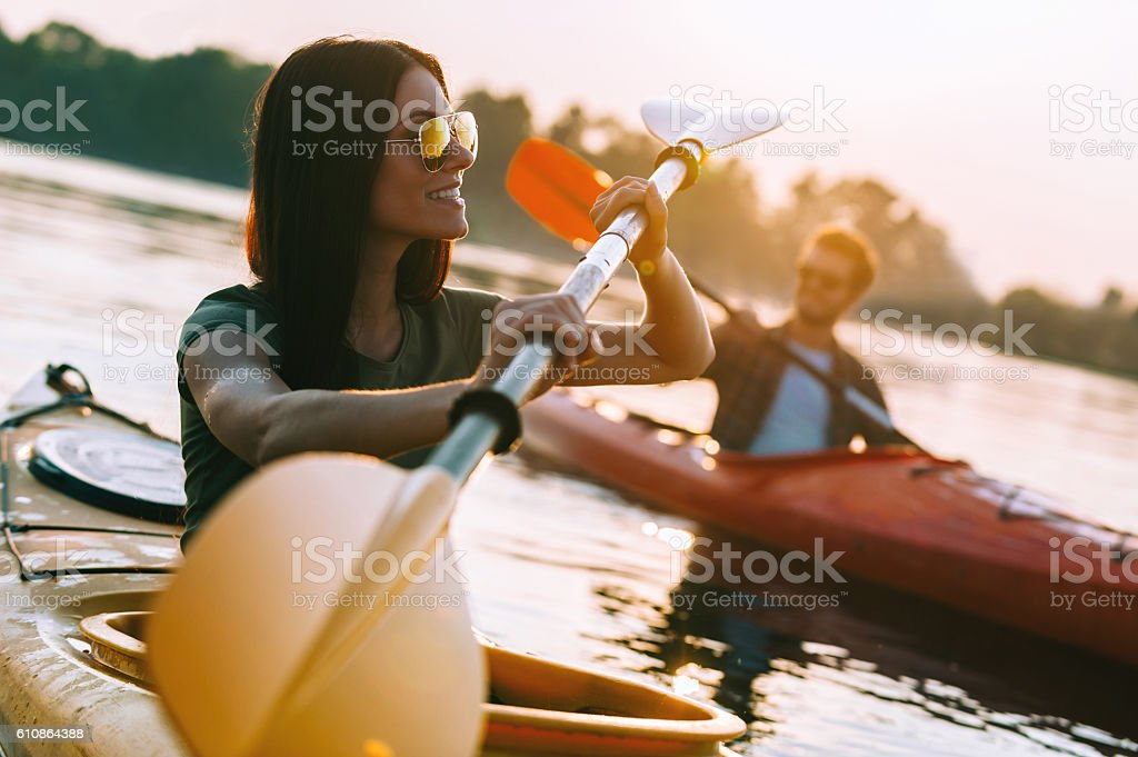 Enjoying great time on river. stock photo