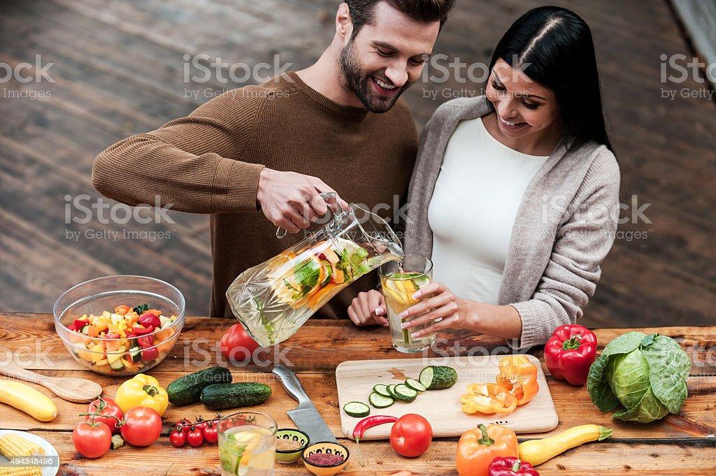 Enjoying healthy food and drinks. stock photo