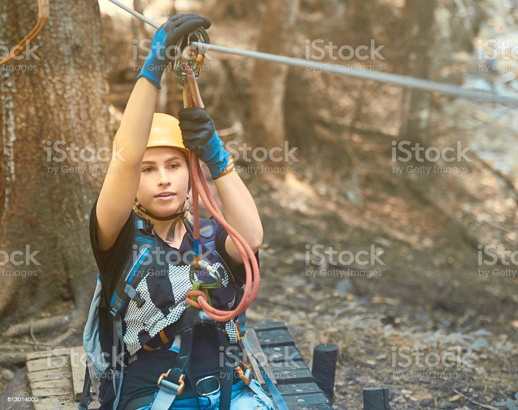 enjoying her adventure stock photo