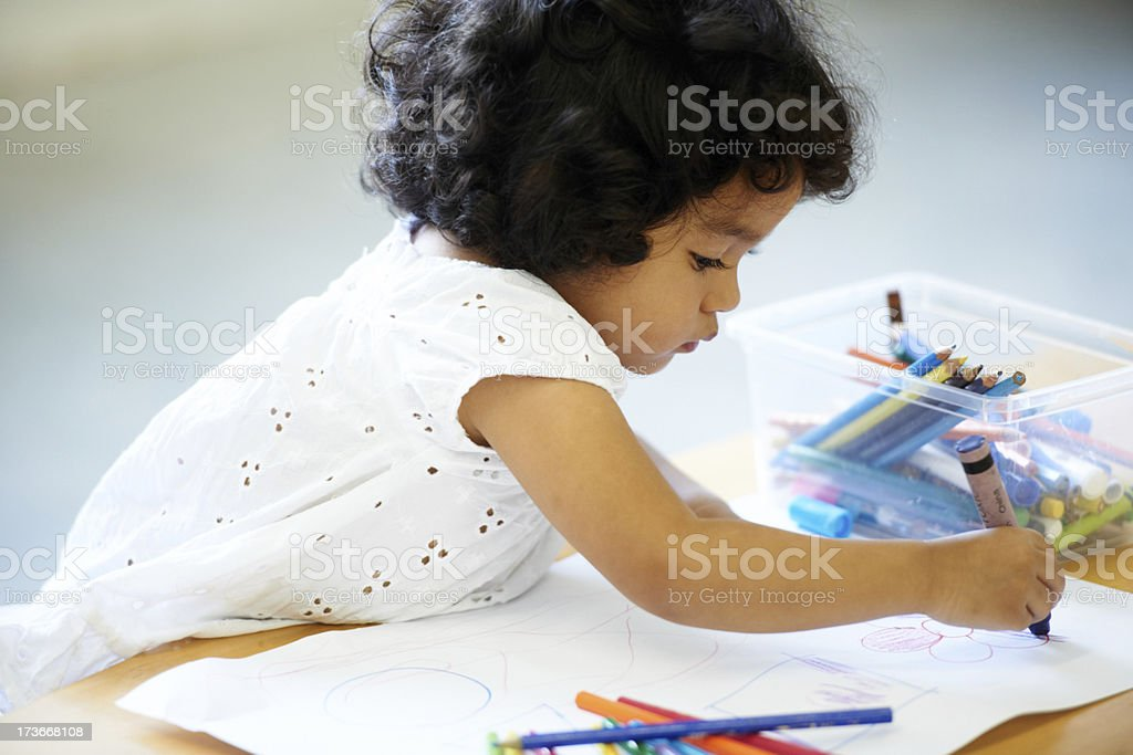 Enjoying her creativity royalty-free stock photo
