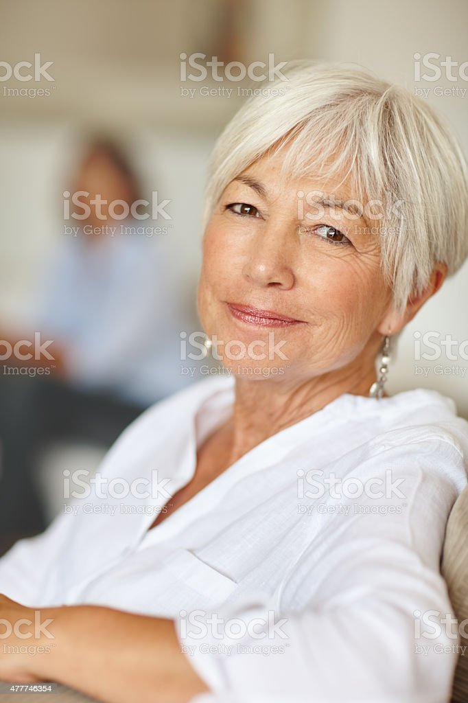 Enjoying her golden years stock photo