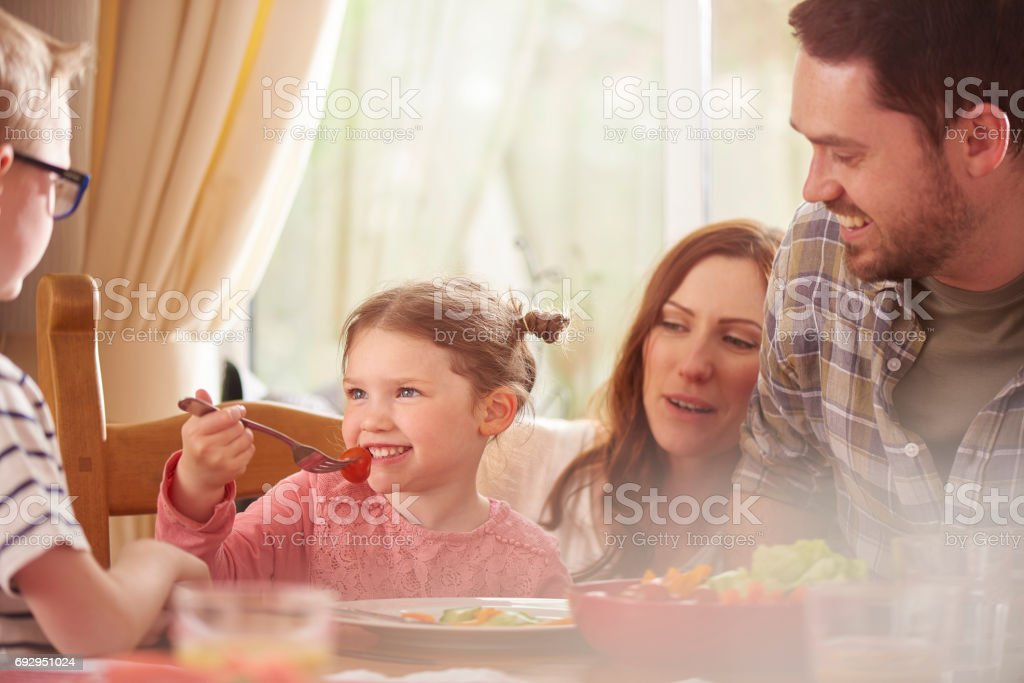 enjoying her lunch stock photo