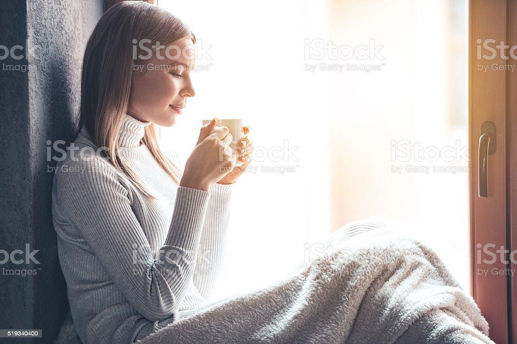 Enjoying her morning. stock photo