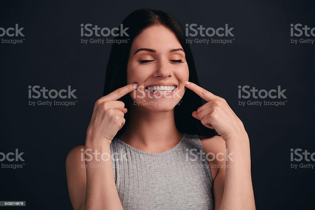 Enjoying her smooth skin. stock photo