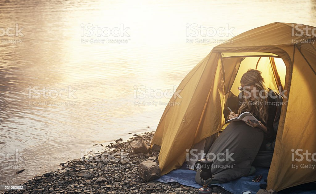 Enjoying her time in solitude stock photo