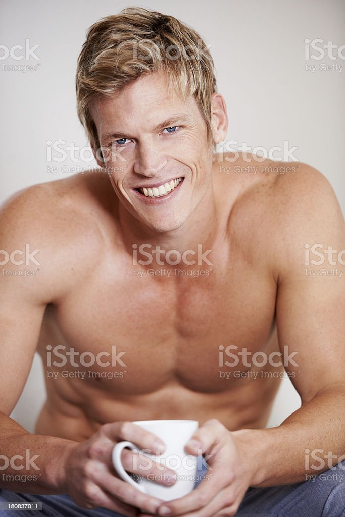 Enjoying his cup of coffee royalty-free stock photo