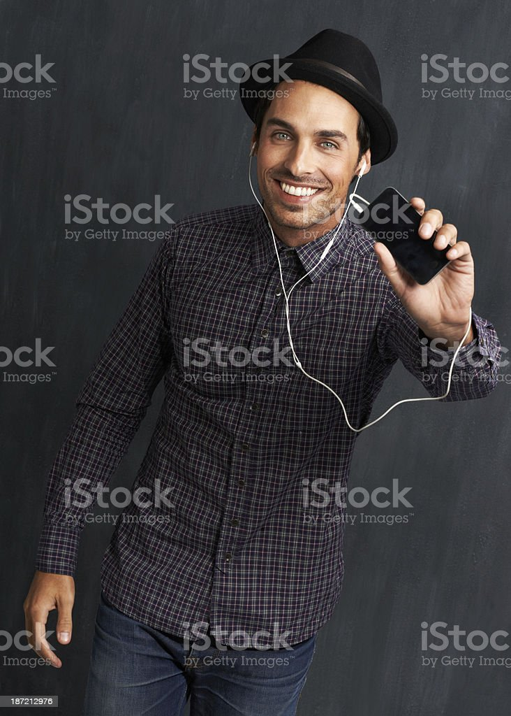 Enjoying his music royalty-free stock photo