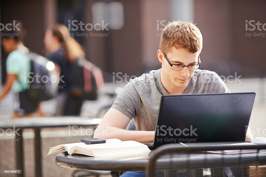 Enjoying his studies stock photo