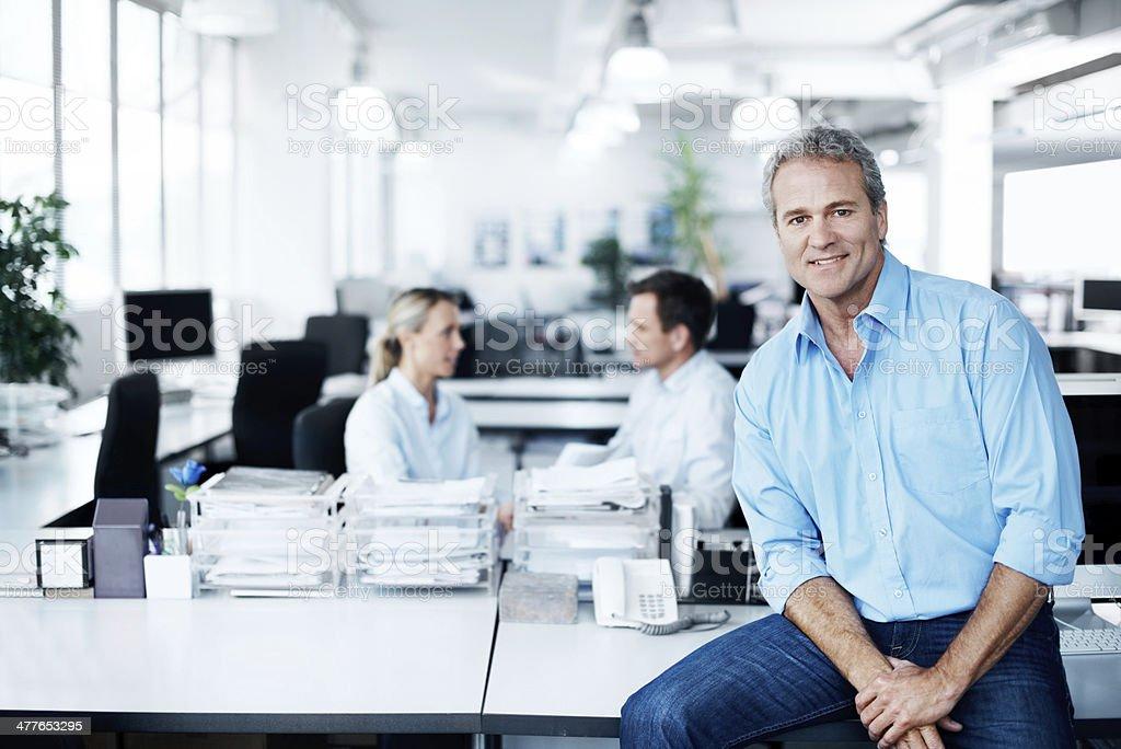 Enjoying his work environment stock photo