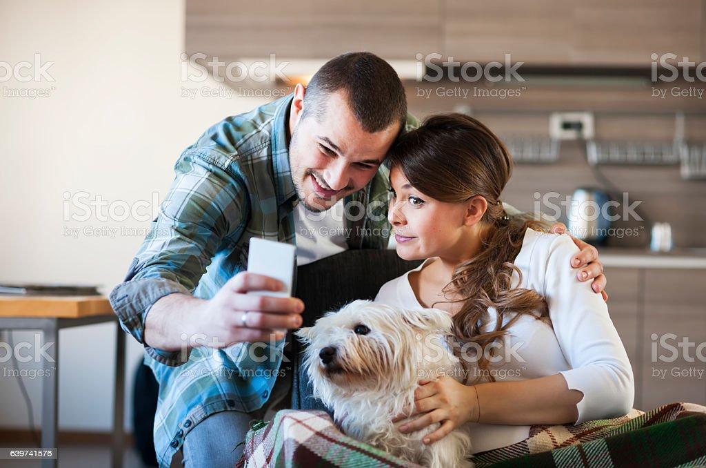 Enjoying home stock photo