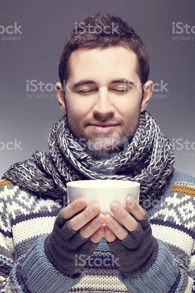 Enjoying hot coffee royalty-free stock photo