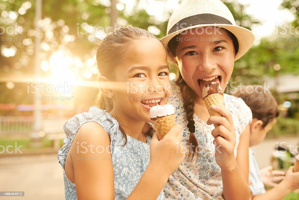Enjoying ice-creams stock photo