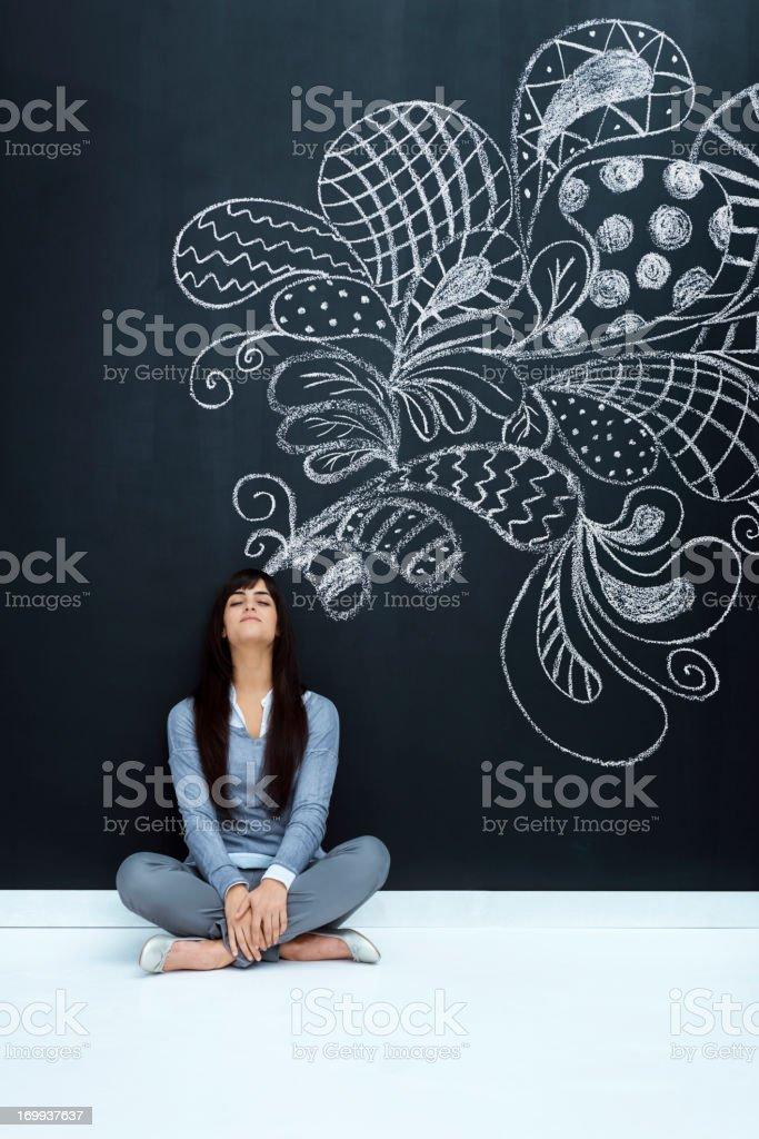 Enjoying imagination stock photo
