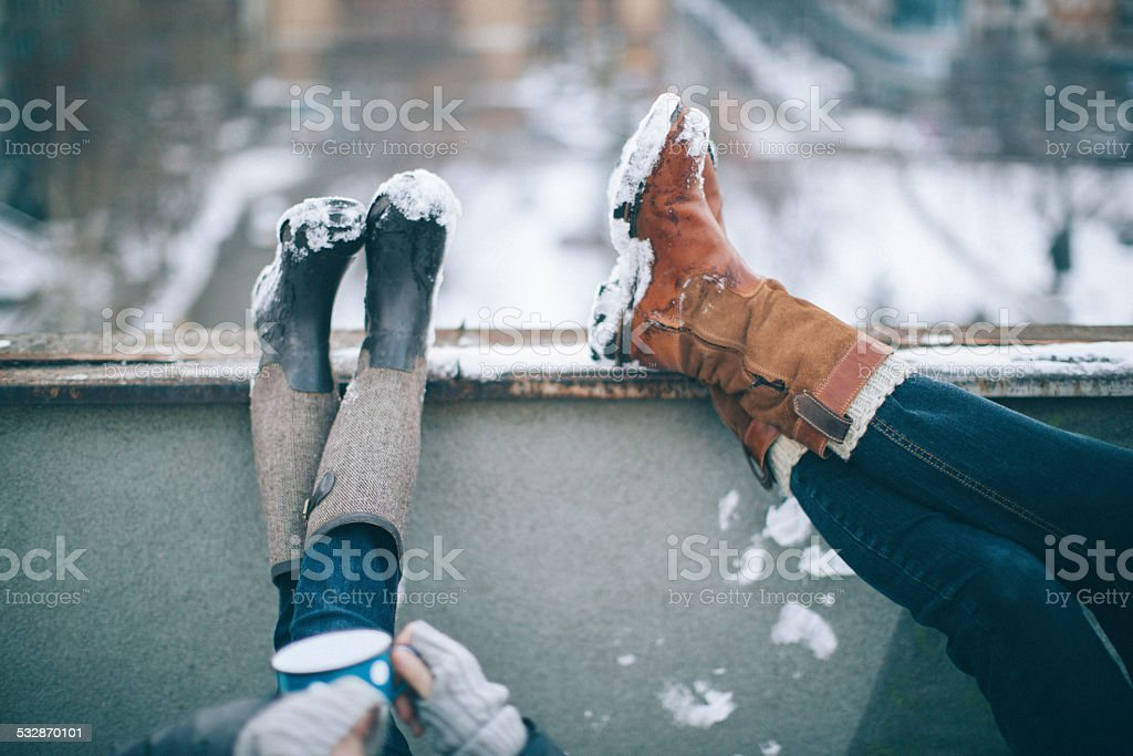 Enjoying in a winter day stock photo