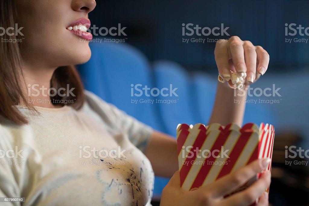 Enjoying in cinema stock photo
