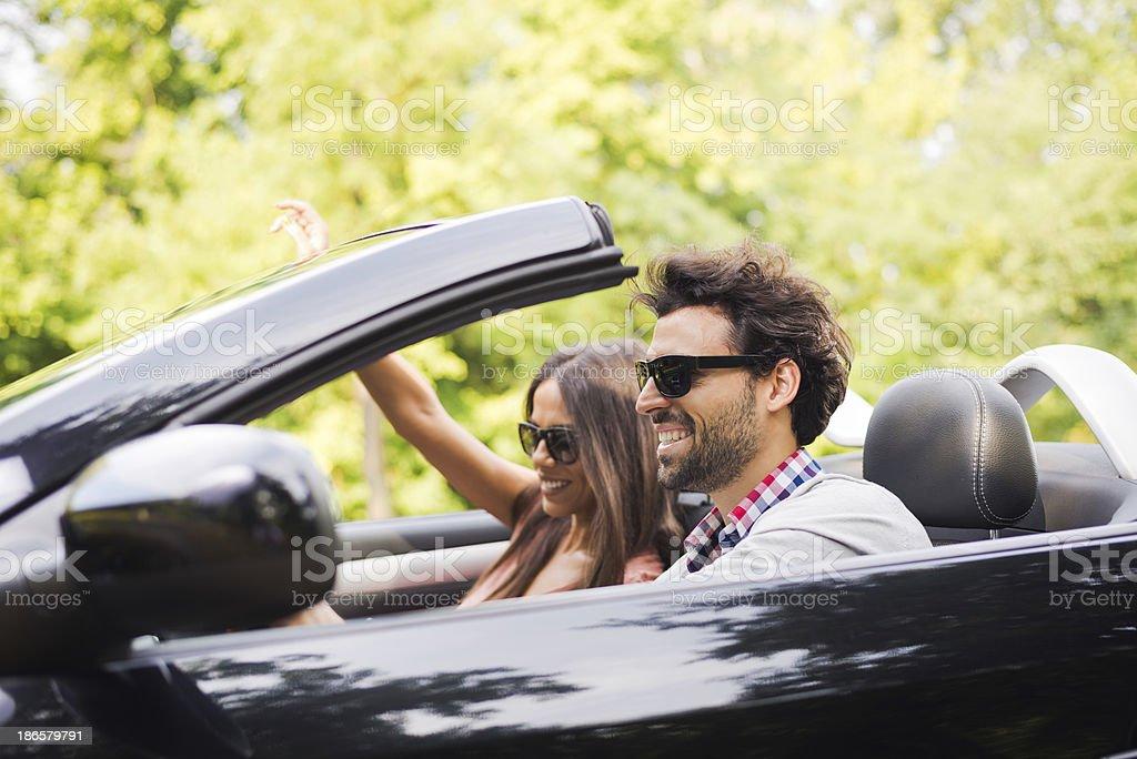 Enjoying in convertible royalty-free stock photo