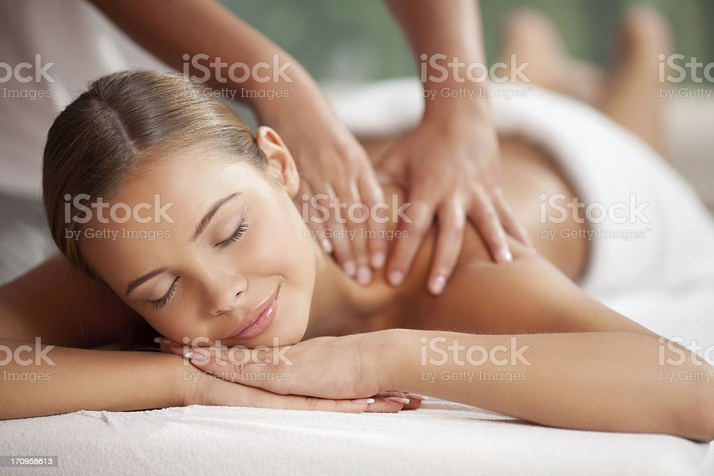 Enjoying in massage royalty-free stock photo