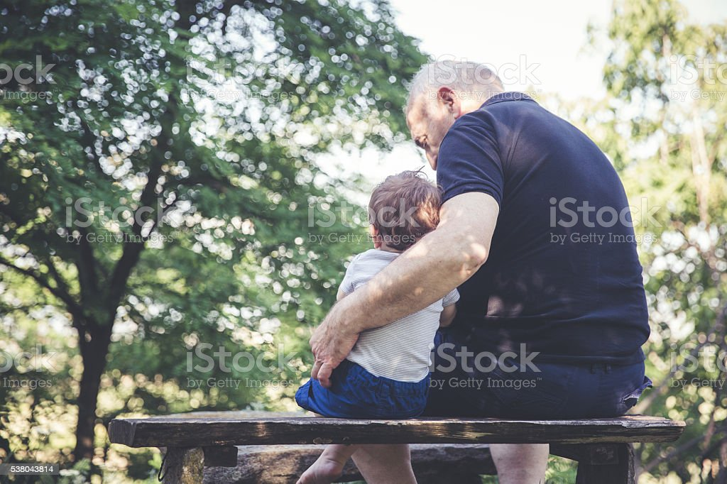 Enjoying in nature on the benches stock photo