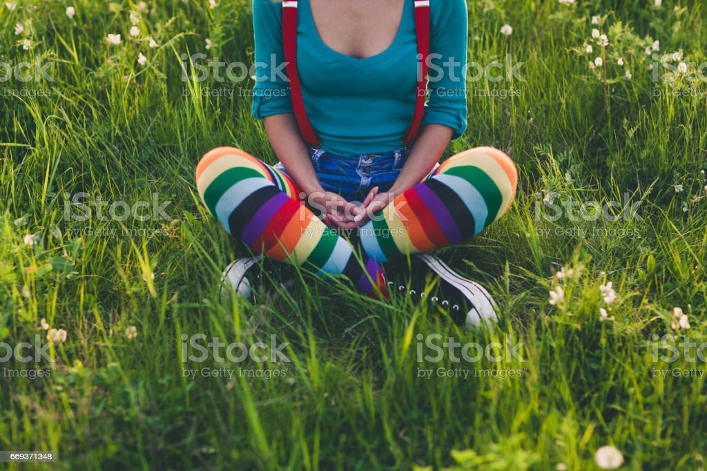 Enjoying in springtime stock photo