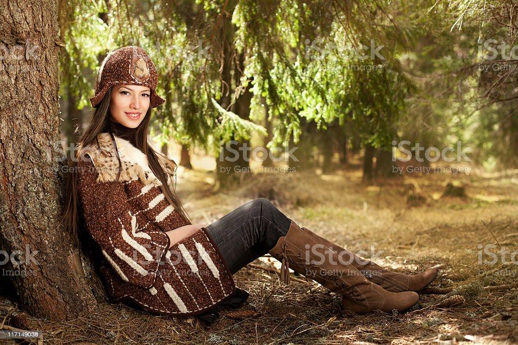 Enjoying in the autumn royalty-free stock photo