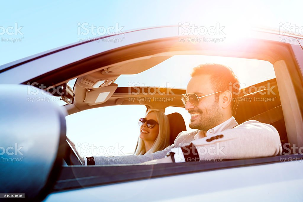 Enjoying in the road trip stock photo