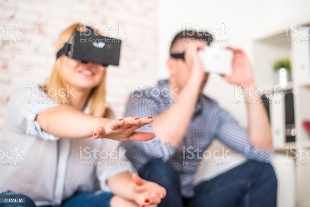 Enjoying in virtual reality stock photo