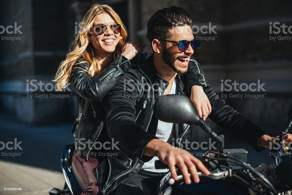Enjoying motorcycling stock photo