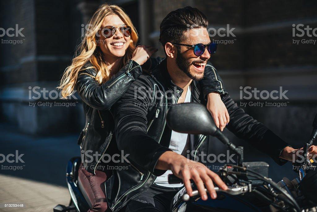 Enjoying motorcycling stock photo
