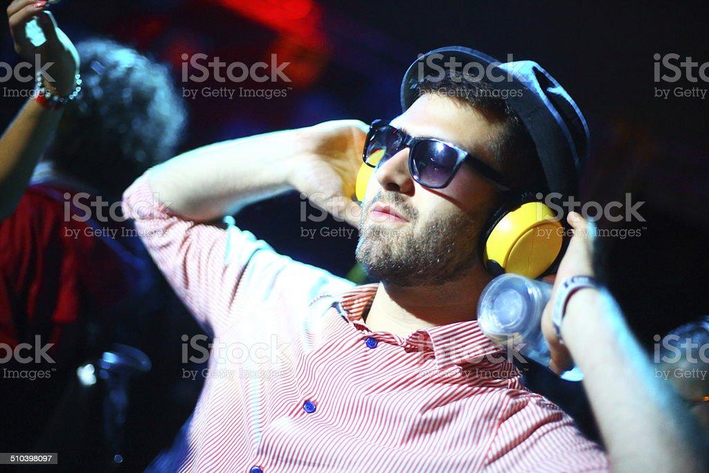Enjoying music. stock photo