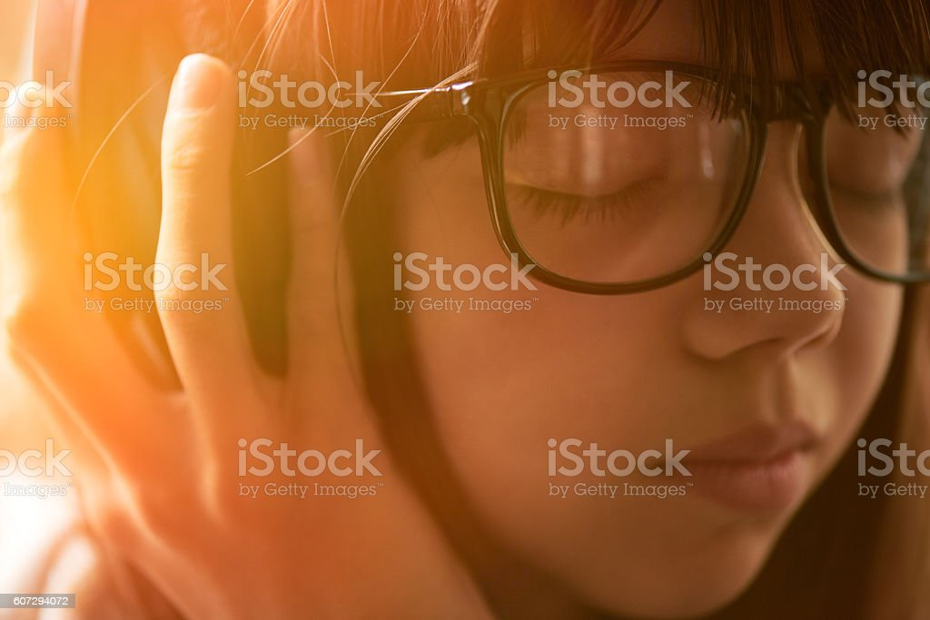 Enjoying music stock photo