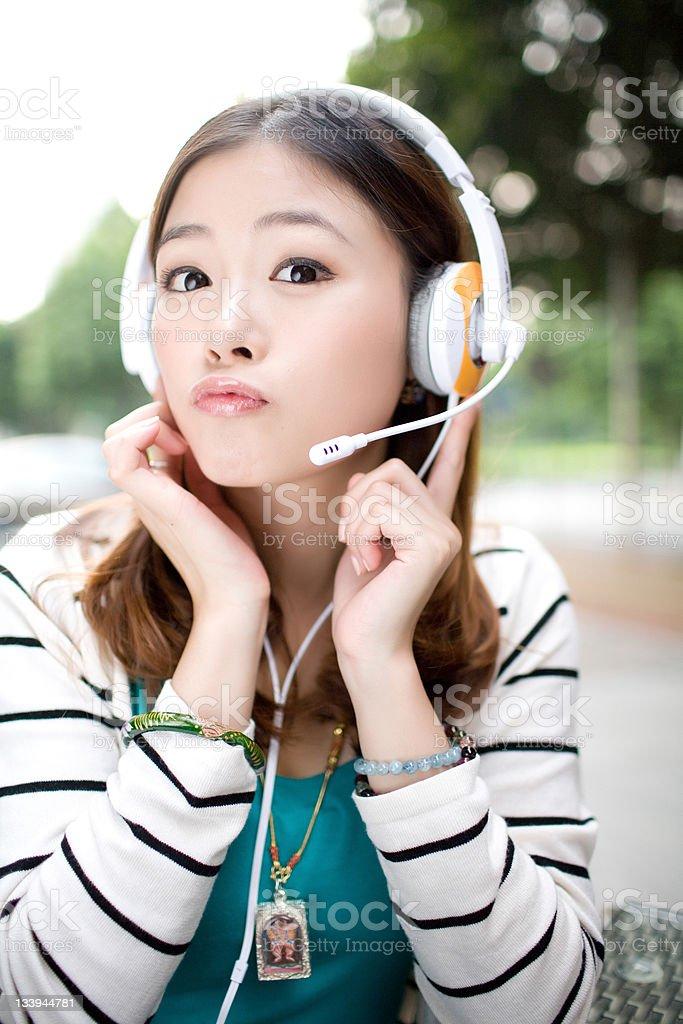 Enjoying Music with Earphone royalty-free stock photo