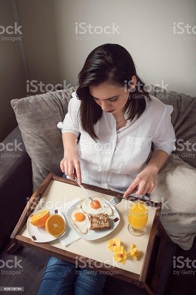Enjoying my breakfast stock photo
