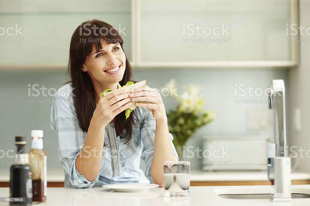 Enjoying my delicious meal royalty-free stock photo