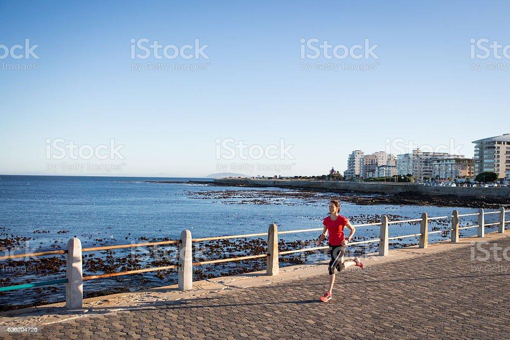 Enjoying my morning run stock photo