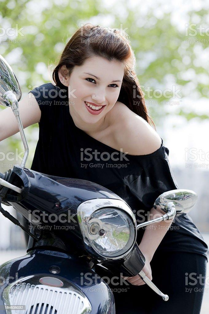 Enjoying my motorcycle royalty-free stock photo