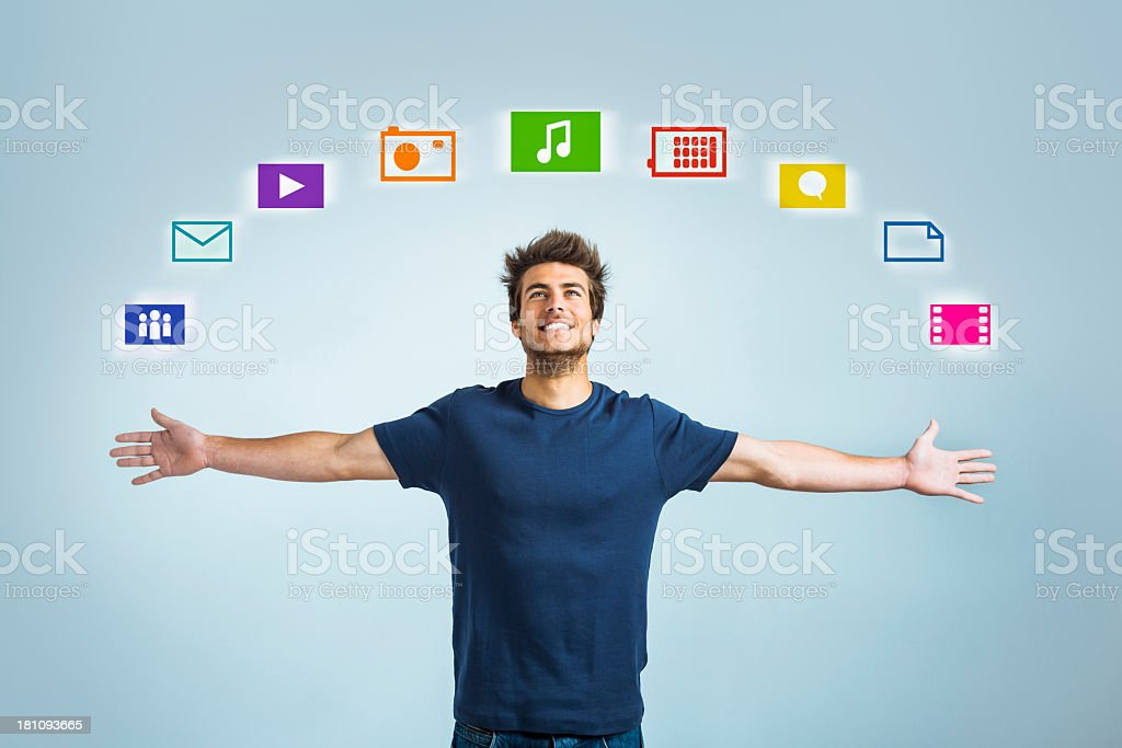 Enjoying my personal cloud royalty-free stock photo
